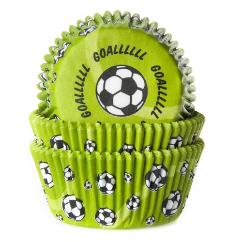 House of Marie Baking cups Voetbal Groen - pk/50