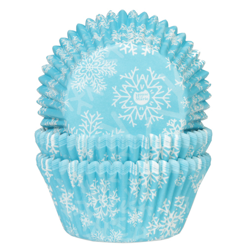 House of Marie Baking Cups Sneeuwkristal Blauw pk/