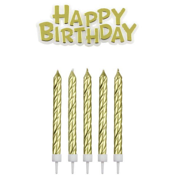 PME Candles & Happy Birthday Gold pk/17