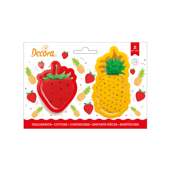 Decora Pineapple & Strawberry Cookie Cutters set/2